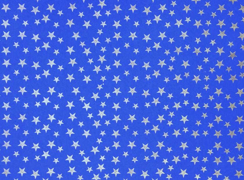 Placa Estrela Cheia Prata Fundo Azul Royal 40x60cm  -