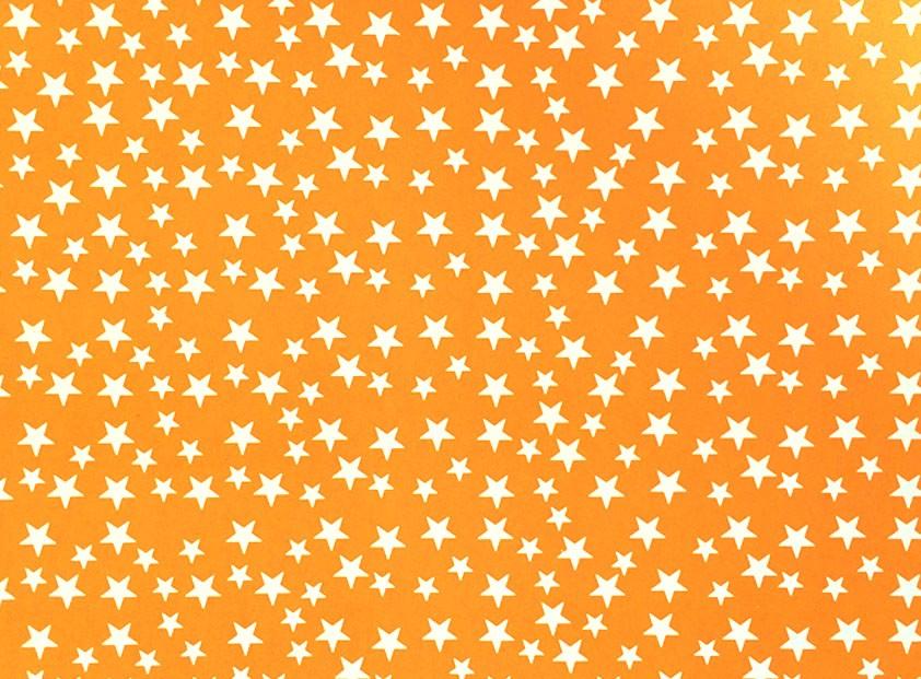 Placa Estrela Cheia Branca Fundo Laranja 40x60cm  -