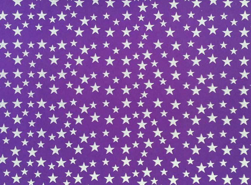 Placa Estrela Cheia Lilás Fundo Branco 40x60cm  -