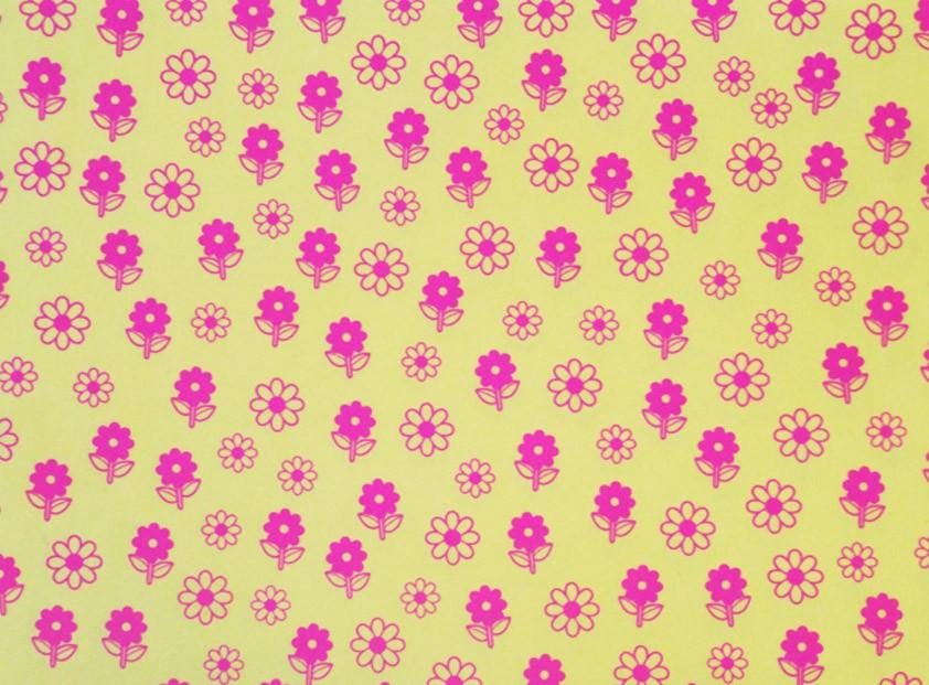 Placa Flor(6) Rosa Fundo Amarelo  40x60cm  -