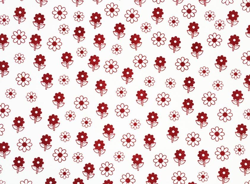 Placa Flor(6) Vermelha Fundo Branco 40x60cm  -