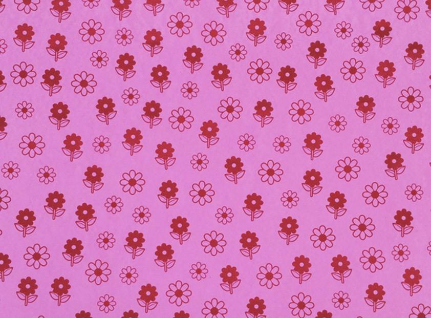 Placa Flor(6) Vermelha Fundo Rosa 40x60cm  -