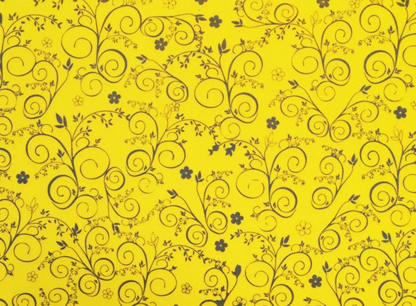 Placa Flor(9) Prata Fundo Amarelo 40x60cm  -