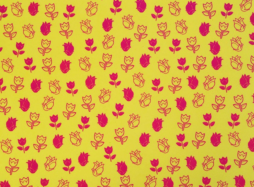 Placa Flor(4) Rosa Fundo Amarelo 40x60cm  - Brindes Visão loja
