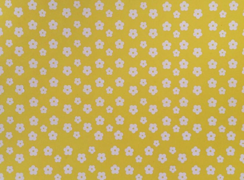 Placa Flor(2) Branca Fundo Amarelo 40x60cm  -