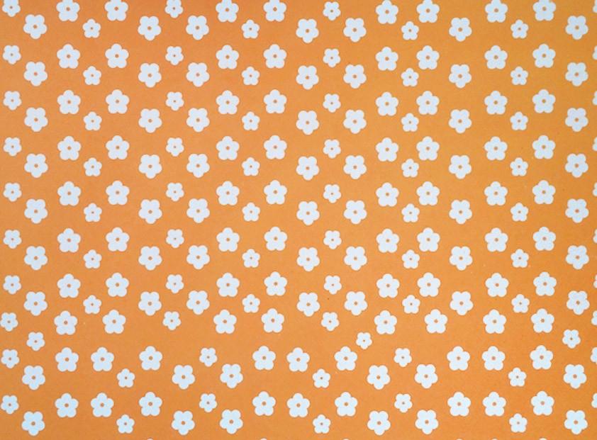 Placa Flor(2) Branca Fundo Laranja 40x60cm  -