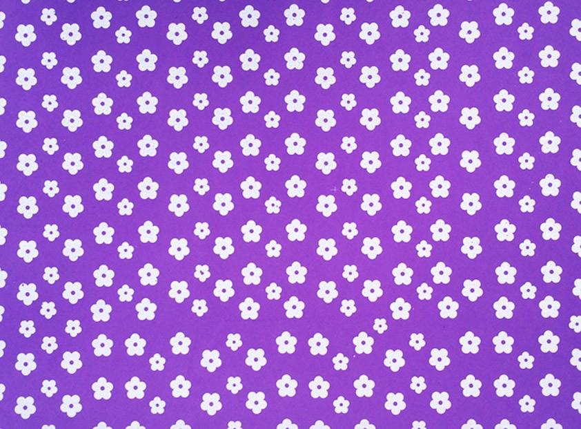 Placa Flor(2) Branca Fundo Lilás 40x60cm  -