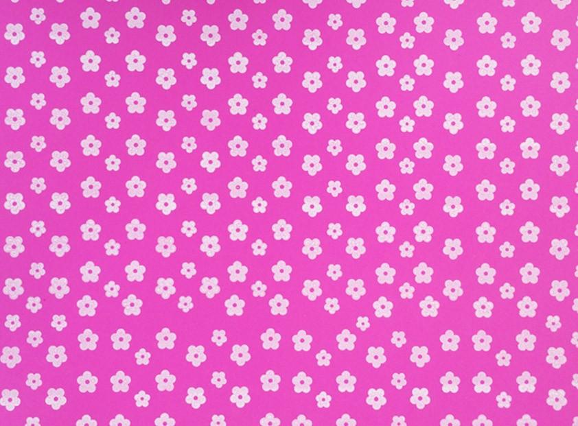 Placa Flor(2) Branca Fundo Rosa Pink 40x60cm  -