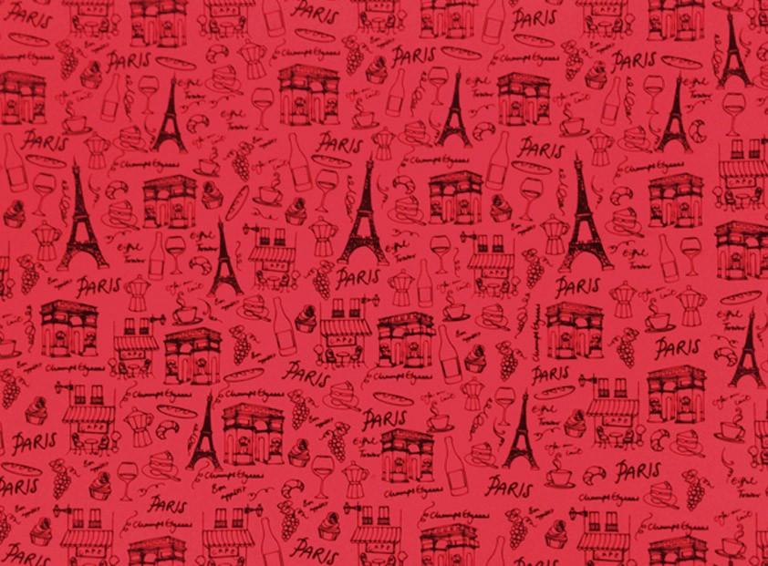 Placa Paris Preto Fundo Vermelho 40x60cm  -