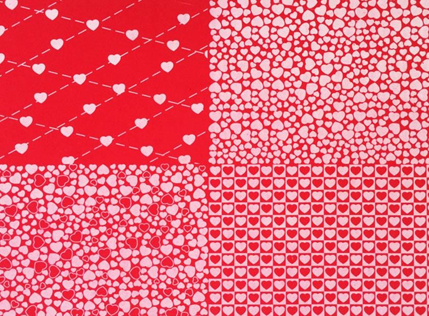 Placa Quatro Corações Vermelho e Branco 40x60cm  -