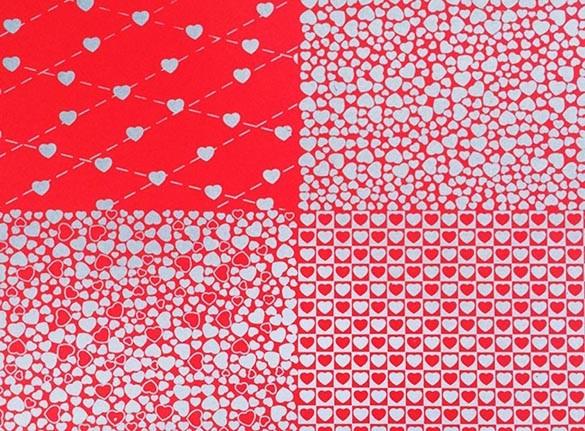 Placa Quatro Corações Vermelho e Prata 40x60cm  -