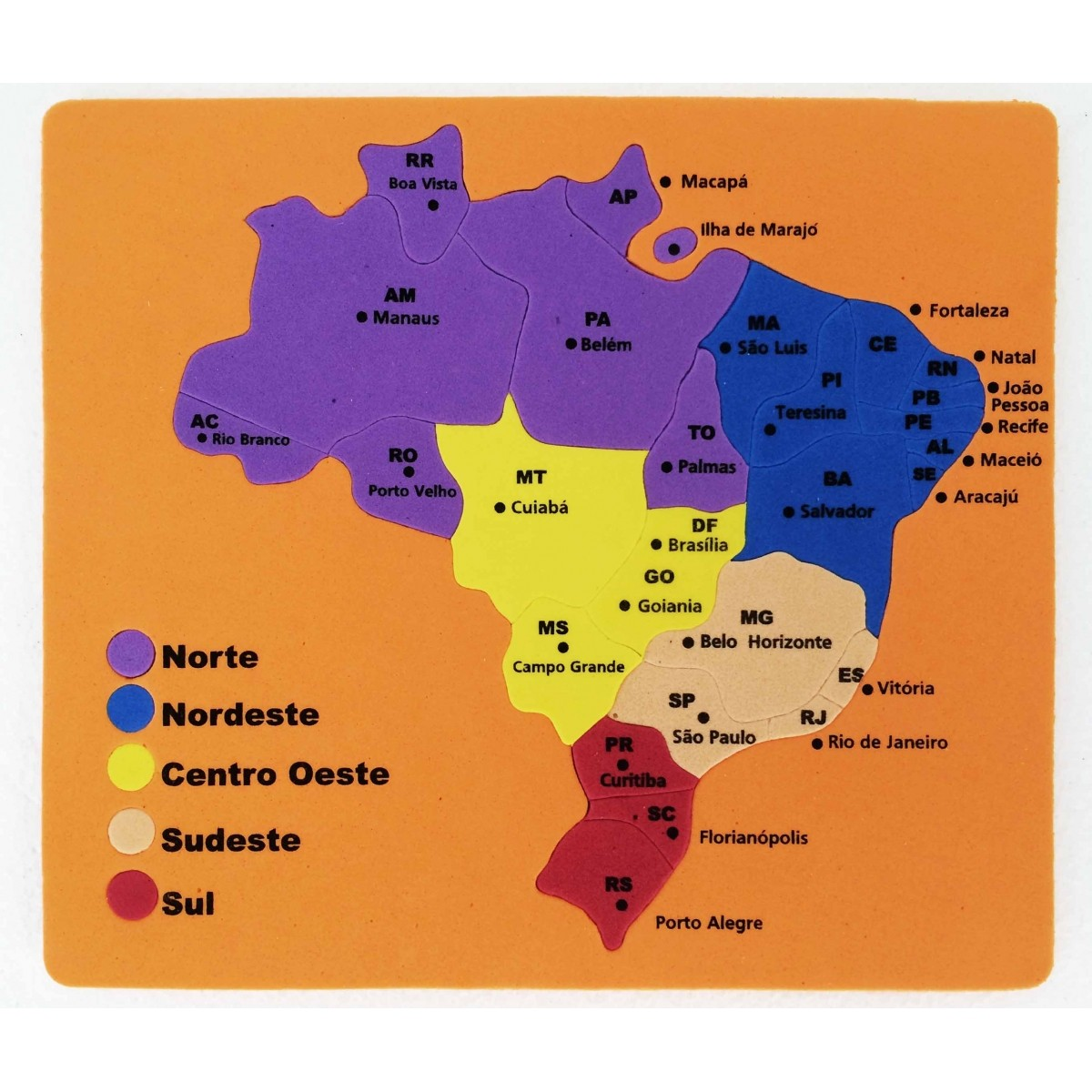 Mapa do Brasil - Estados e Capitais  -