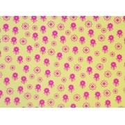 Placa Flor(6) Rosa Fundo Amarelo  40x60cm