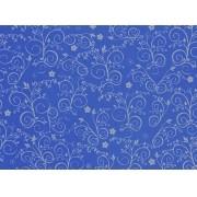 Placa Flor(9) Prata Fundo Azul Royal 40x60cm