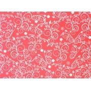 Placa Flor(9) Branco Fundo Vermelho Claro 40x60cm