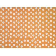 Placa Flor(2) Branca Fundo Laranja 40x60cm