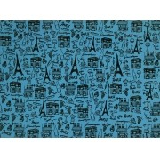 Placa Paris Preto Fundo Azul BB 40x60cm