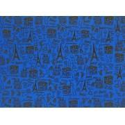 Placa Paris Marrom Fundo Azul Royal 40x60cm
