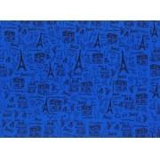 Placa Paris Preto Fundo Azul Royal 40x60cm