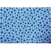 Placa Pata de Cachorro Preto Fundo Azul 40x60cm