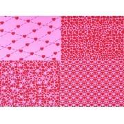 Placa Quatro Corações Rosa e Vermelho 40x60cm
