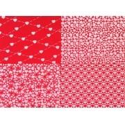 Placa Quatro Corações Vermelho e Branco 40x60cm