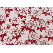 Placa Flor(5) Vermelha Fundo Branco 40x60cm