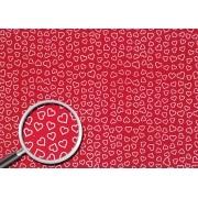 Placa Coração Branco Fundo Vermelho 40x60cm