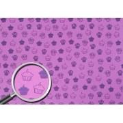 Placa CupCake Lilás Fundo Rosa  40x60cm
