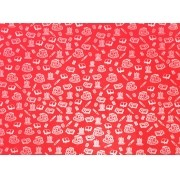Placa Material Escolar Branco Fundo Vermelho 40x60cm