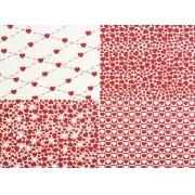 Placa Quatro Corações  Branco e Vermelho 40x60cm