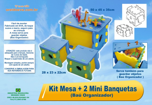 Kit mesa com 2 banquetas (Baú organizador)  - Brindes Visão loja