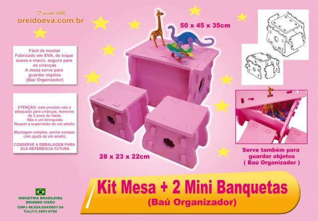 Kit mesa com 2 banquetas (Baú organizador)  -