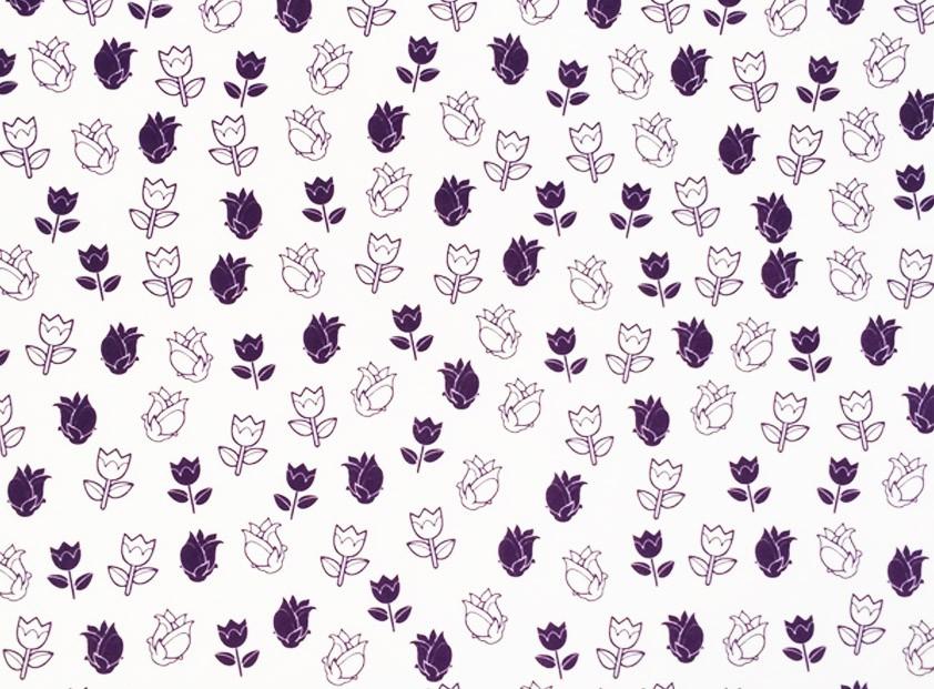 Placa Flor(4) Lilás Fundo Branco 40x60cm  -