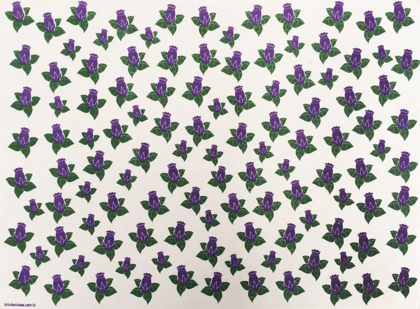 Placa Flor(8) Lilás e Verde Fundo Branco  40x60cm  -