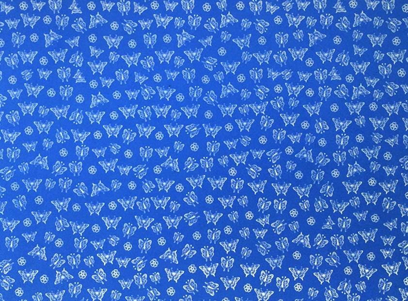 Placa Borboleta Branca Fundo Azul Royal 40x60cm  - Brindes Visão loja