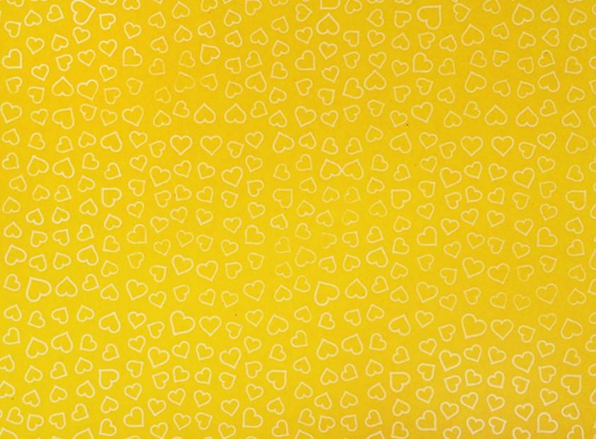 Placa Coração Branco Fundo Amarelo 40x60cm  -