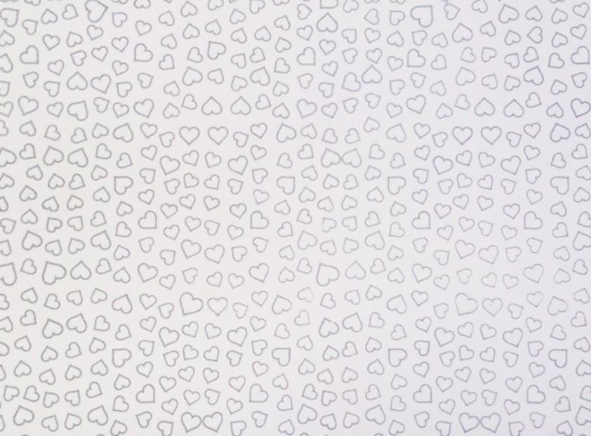 Placa Coração Prata Fundo Branco 40x60cm  -
