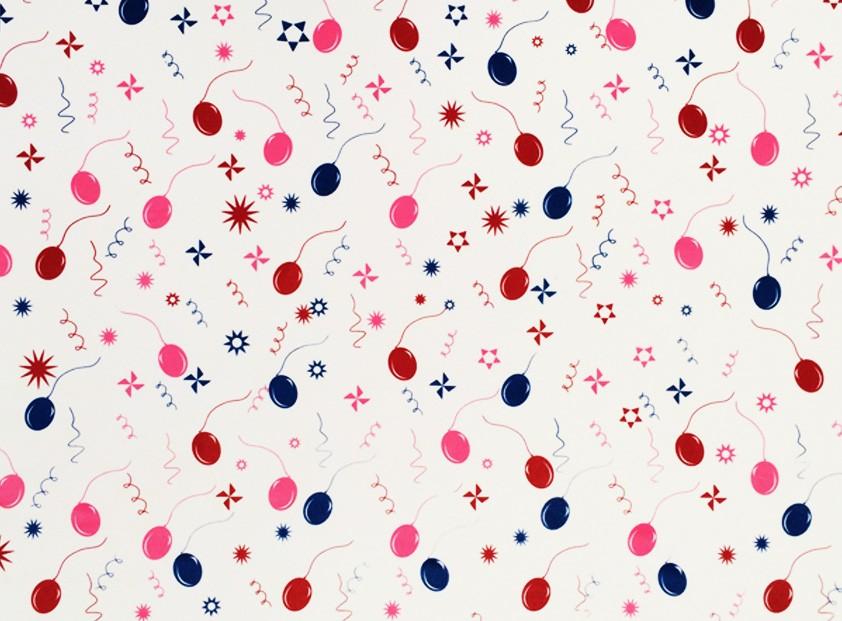 Placa Bexiga de Festa Azul, Vermelho e Rosa  40x60cm  -