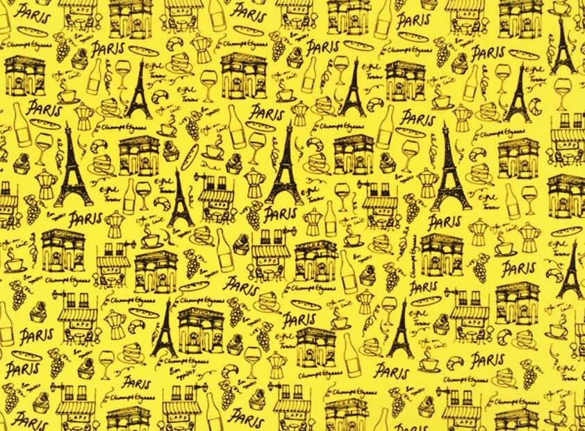 Placa Paris Preto Fundo Amarelo 40x60cm  -