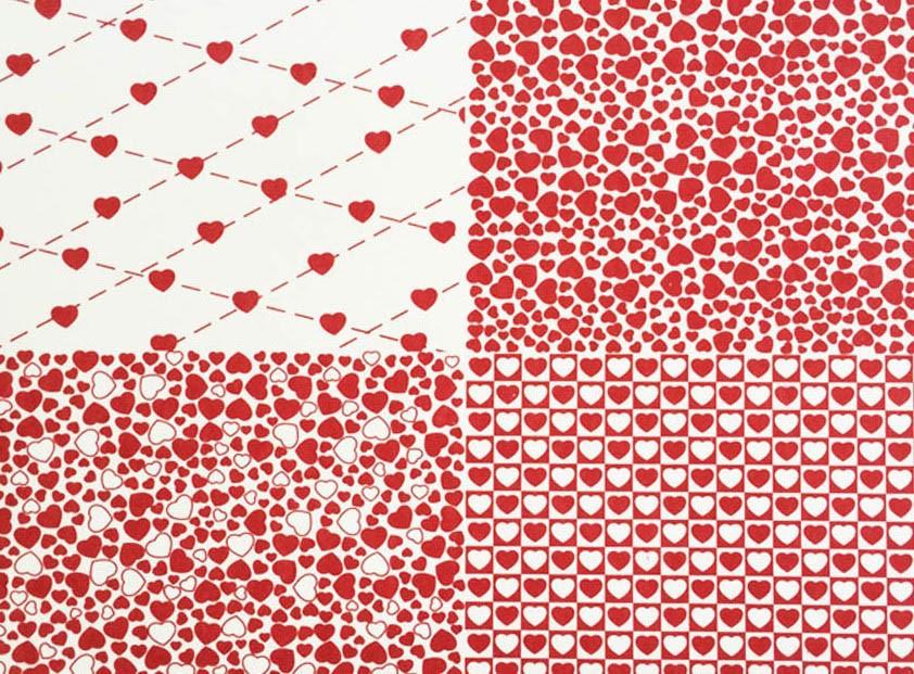 Placa Quatro Corações  Branco e Vermelho 40x60cm  - Brindes Visão loja