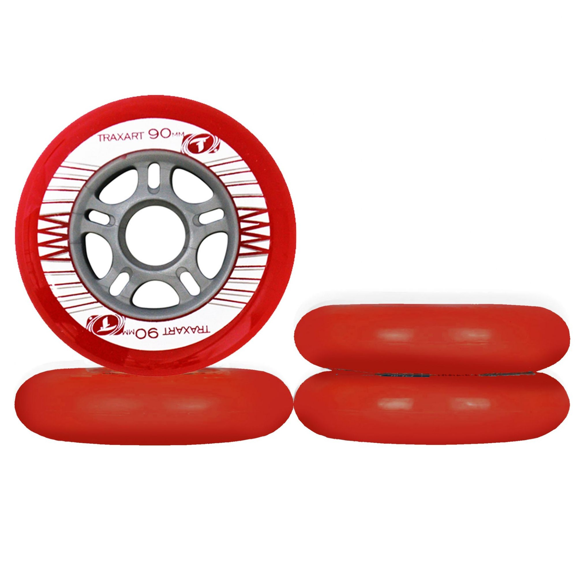 Jogo de Rodas Traxart Fitness 90mm/83A - Vermelho