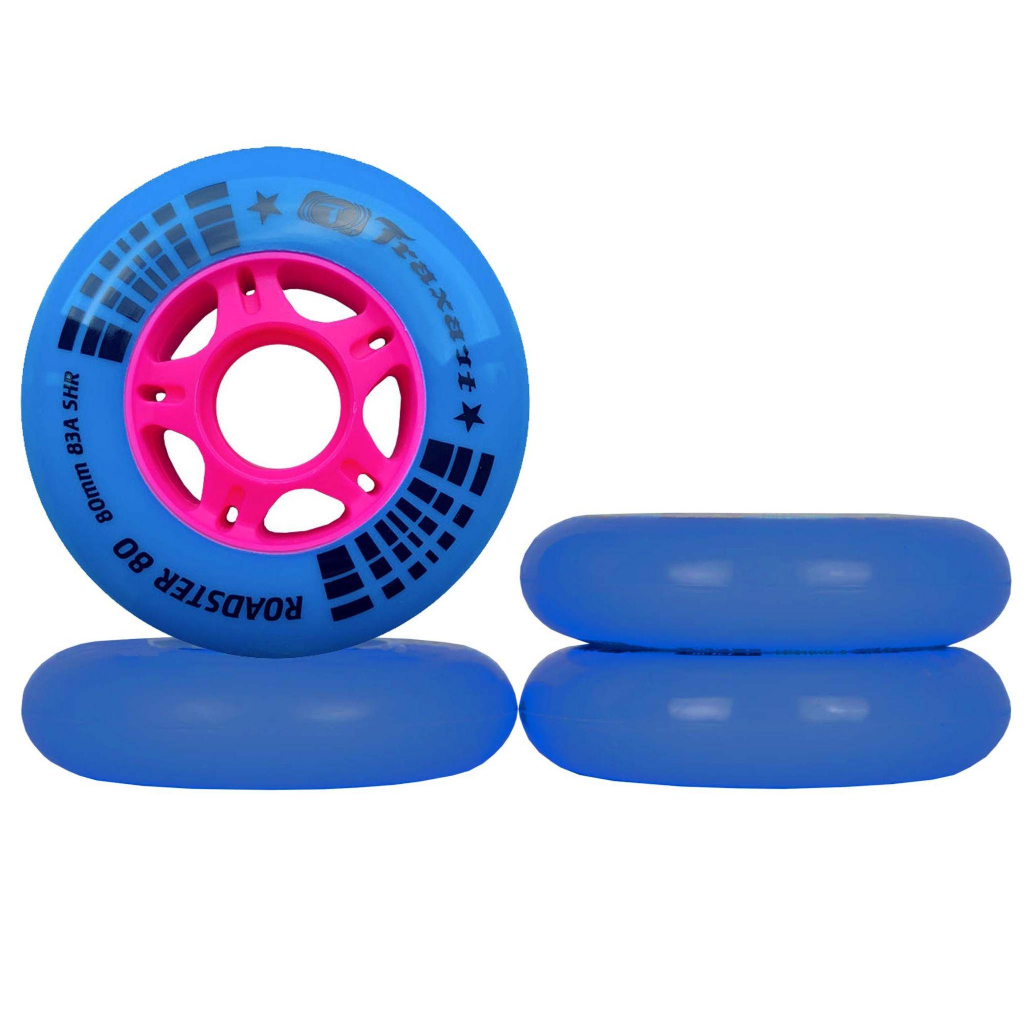 Jogo de Rodas Traxart Fitness Roadster 80 80mm/83A - Azul/Pink