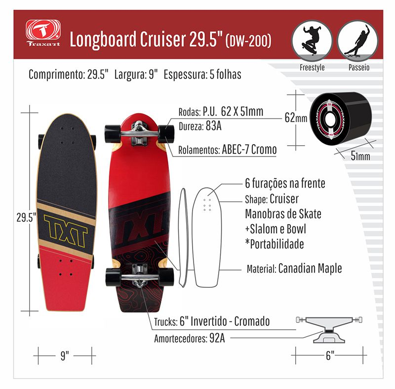"Longboard Traxart Cruiser 29.5"" - DW-200"