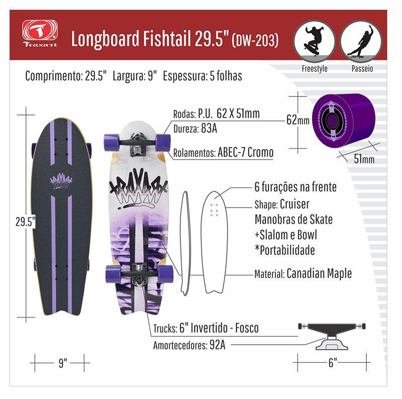 """Longboard Traxart Fishtail 29.5"""" - DW-203"""