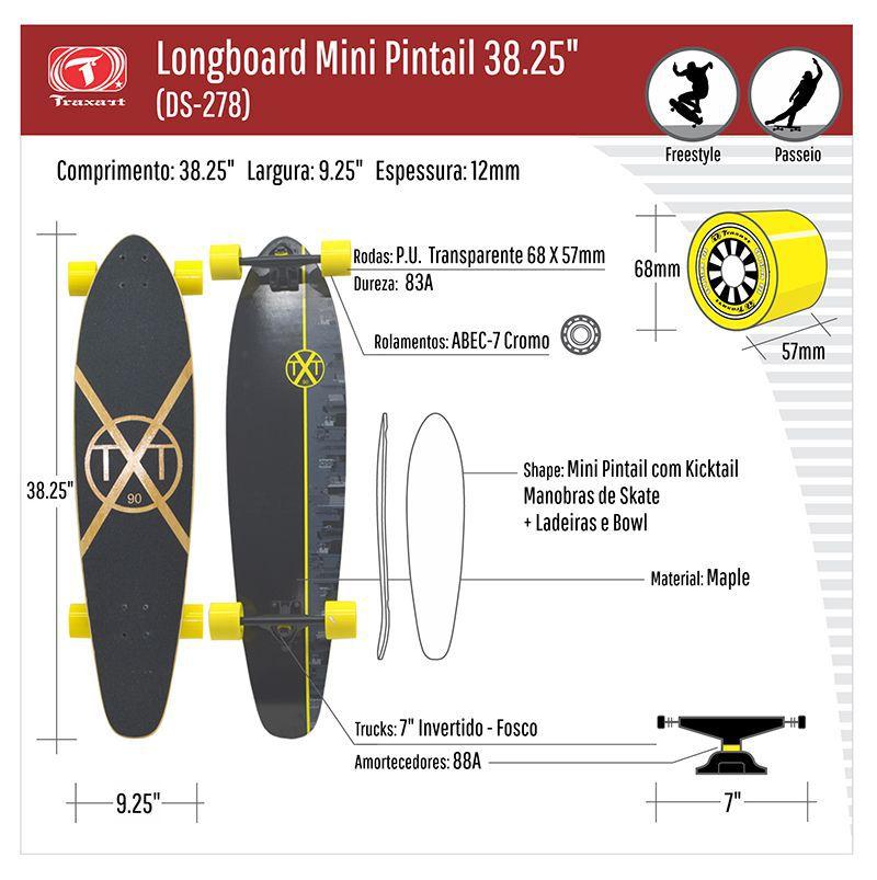 """Longboard Traxart Mini Pintail 38.25"""" - DS-278"""