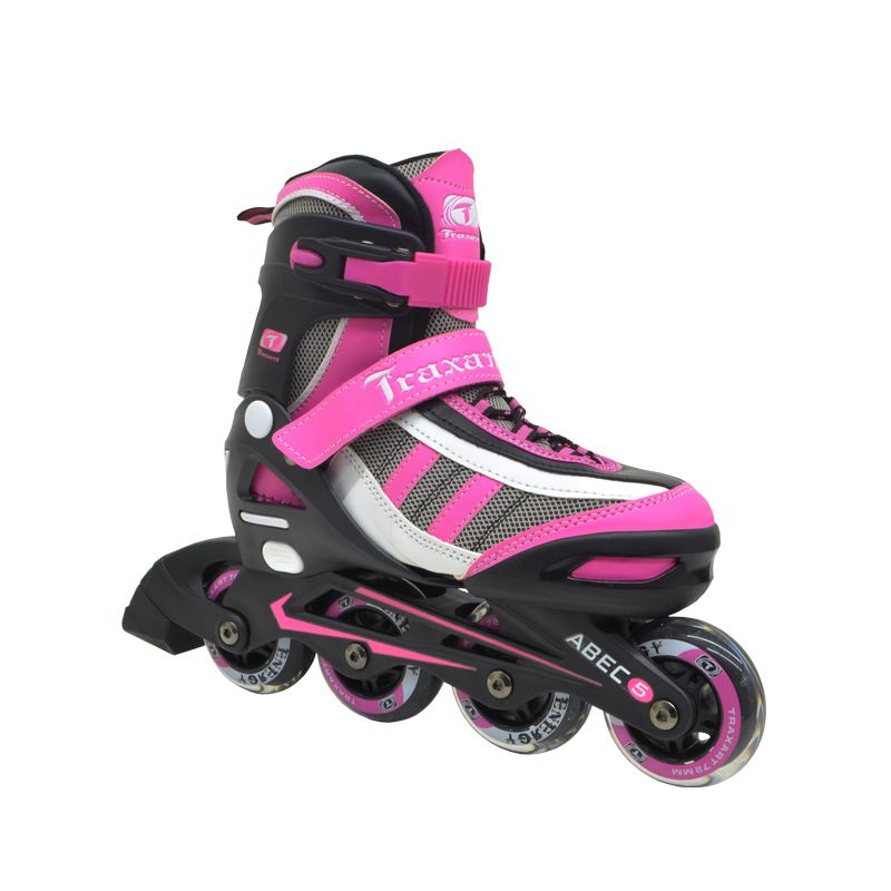 Patins Infanto Juvenil Energy Pink - Regulável ABEC-5 - Traxart