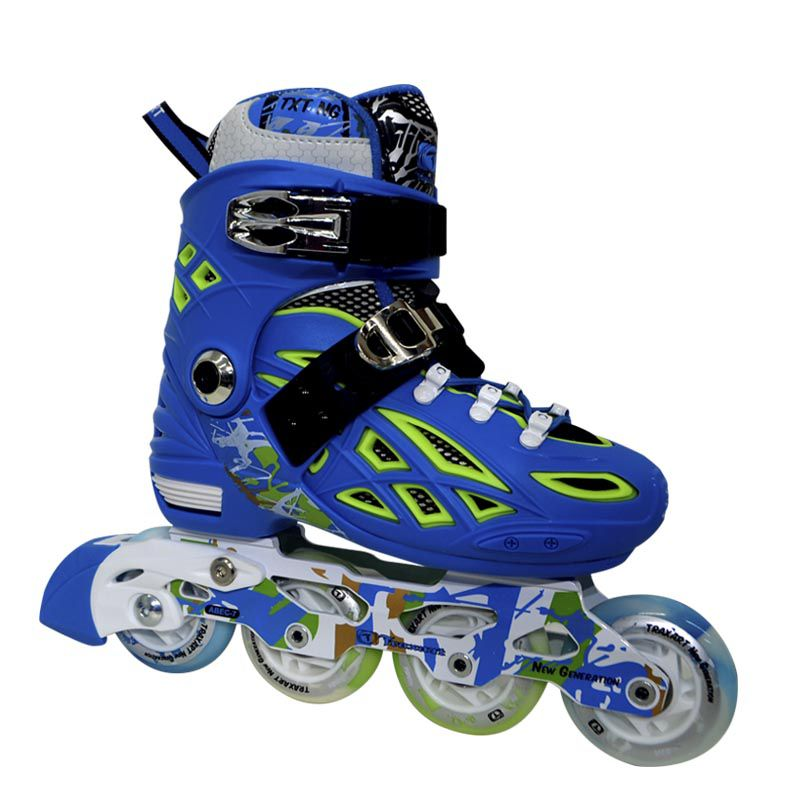 Patins Traxart Infanto Juvenil New Generation Regulável ABEC-7 Cromo - BLUE