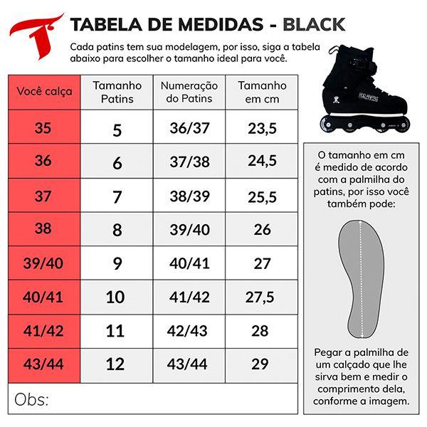 Patins Traxart Black (Street/Vertical) - Roda 57mm ABEC-7 Cromo