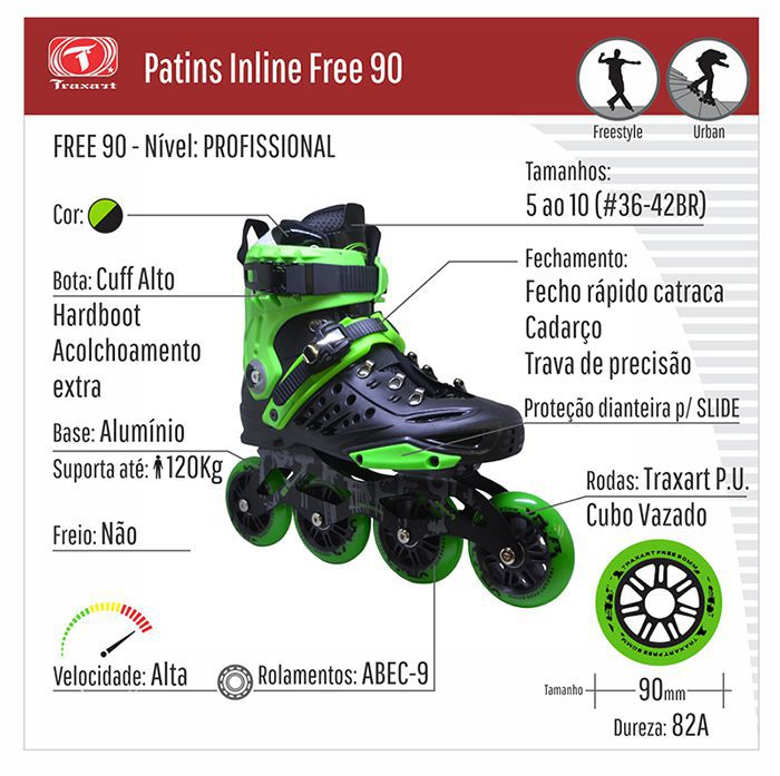 Patins Traxart Freestyle Free 90 Rodas 90mm ABEC-9